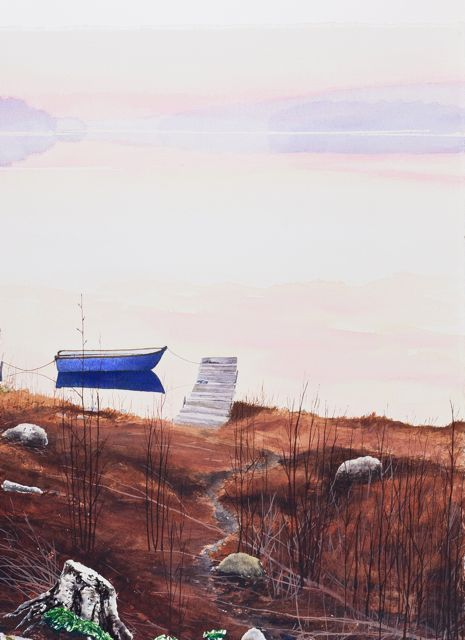 Blå båt, 56 x 76 cm